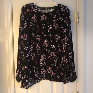 J. Jill Black and Purple Floral Blouse